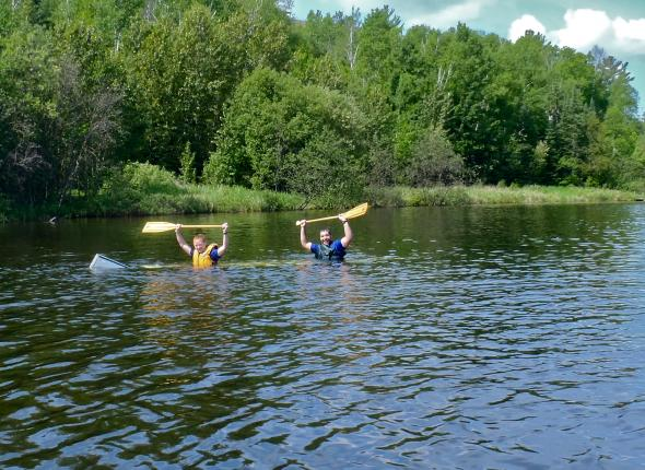 Swamping the canoe--and then paddling it!