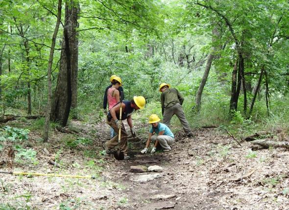 The line of stepping stones we installed at Fort Gibson Lake's Overlook Trail.