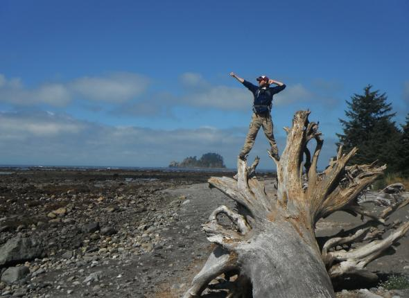 Power stance at Cape Alava: Olympic NP, WA