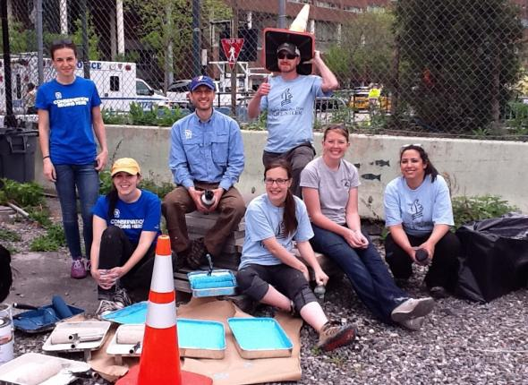 The paint-covered crew at the end of the day