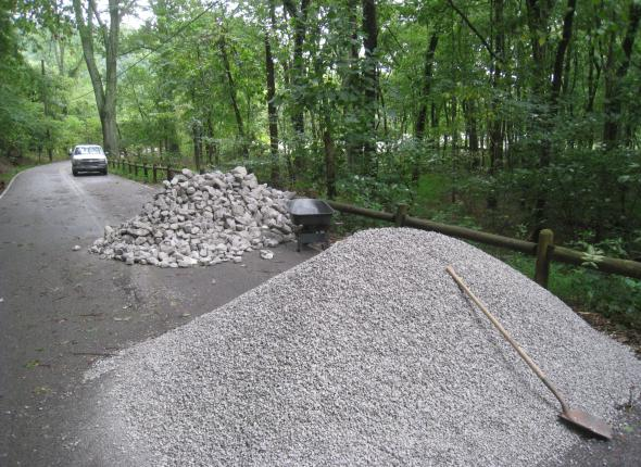 The piles of rock to be moved