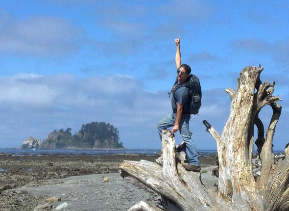 Victory pose after another successful hitch- Olympic National Park, WA