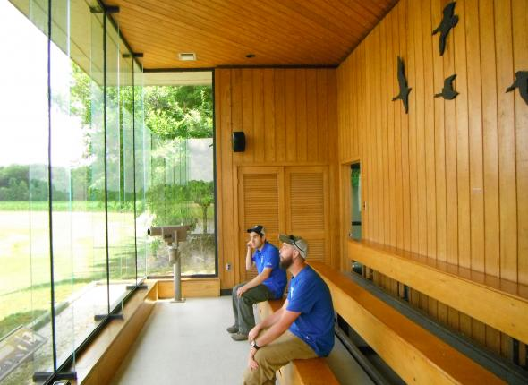 Michael Vasquez and Michael Molloy at the elaborate observation building at Wheeler NWR in AL.