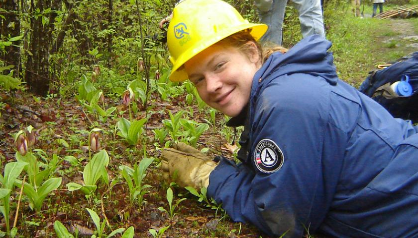SCA Americorps Intern at work. SCA and Americorps have partnered since Americorps was founded.