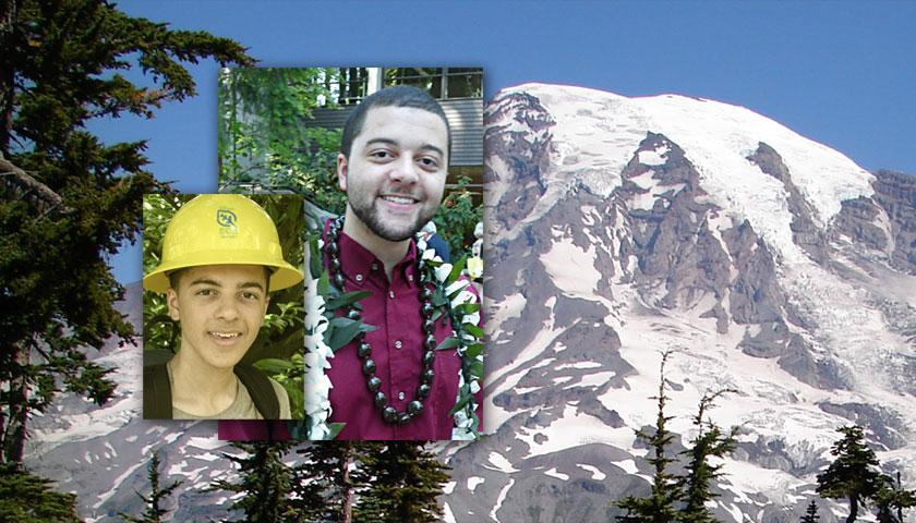 SCA Alum Parker Davis seen in his Crew days at Mount Rainer in 2010 and at his college graduation this year.