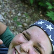 Corpsmember Brittany Weinstein, spreading peace in the Michigan woods.