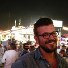 Project Leader, William Hough, moments before getting on the ferris wheel at the Ukiah County Fair.
