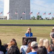 SCA CEO Jaime Matyas speaks in front of the Washington Monument August 25. 2015