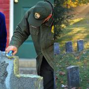 SCA Intern Kathryn Averette and NPS Ranger K.C. Kirkman clean a headstone at Sharpsburg
