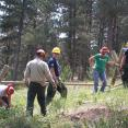 SCA and USFS Recreation staff installing buck and rail fence