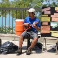 Desmond's whimsical stylings on his uke helped to lure beach-goers to the informational table
