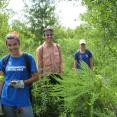 Alaina, SCA intern Matthew Koenig, and Abby trudging through the deep brush.