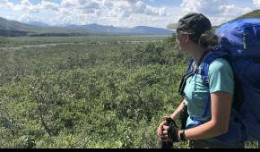 SCA Alum Riley Hays hiking in Denali National Park